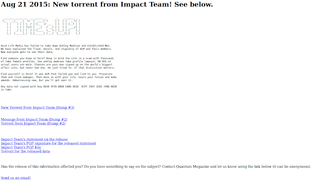 Impact Teams .onion site on Tor where the data can be downloaded
