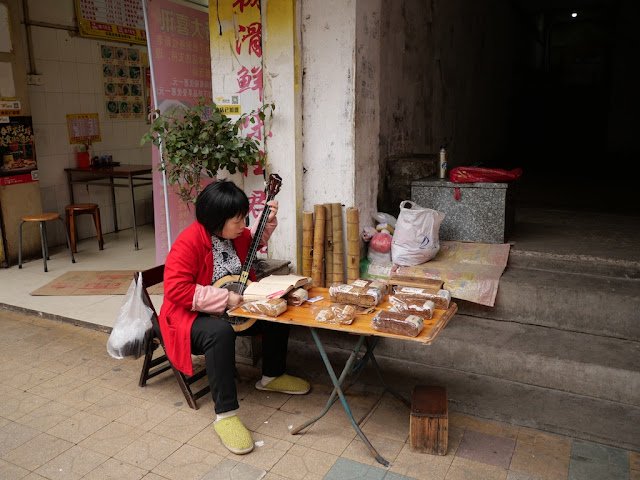 Woman playing a qinqin (秦琴) alongside Fumin Road (阜民路)