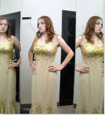 Best Beauty and Fashion Tips to Hide Weight Gain- pi of woman inspecting her body in he mirror