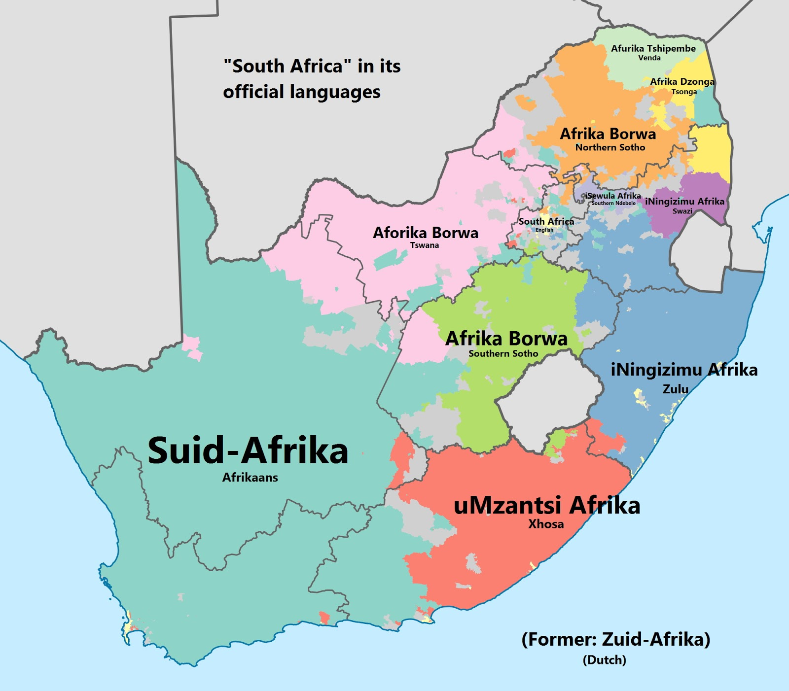 South Africa in its official languages