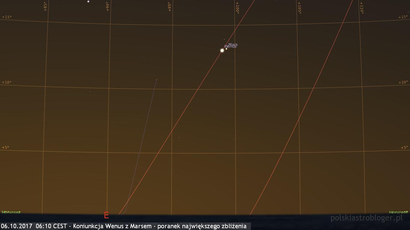 06.10.2017  06:10 CEST - Koniunkcja Wenus z Marsem - poranek największego zbliżenia