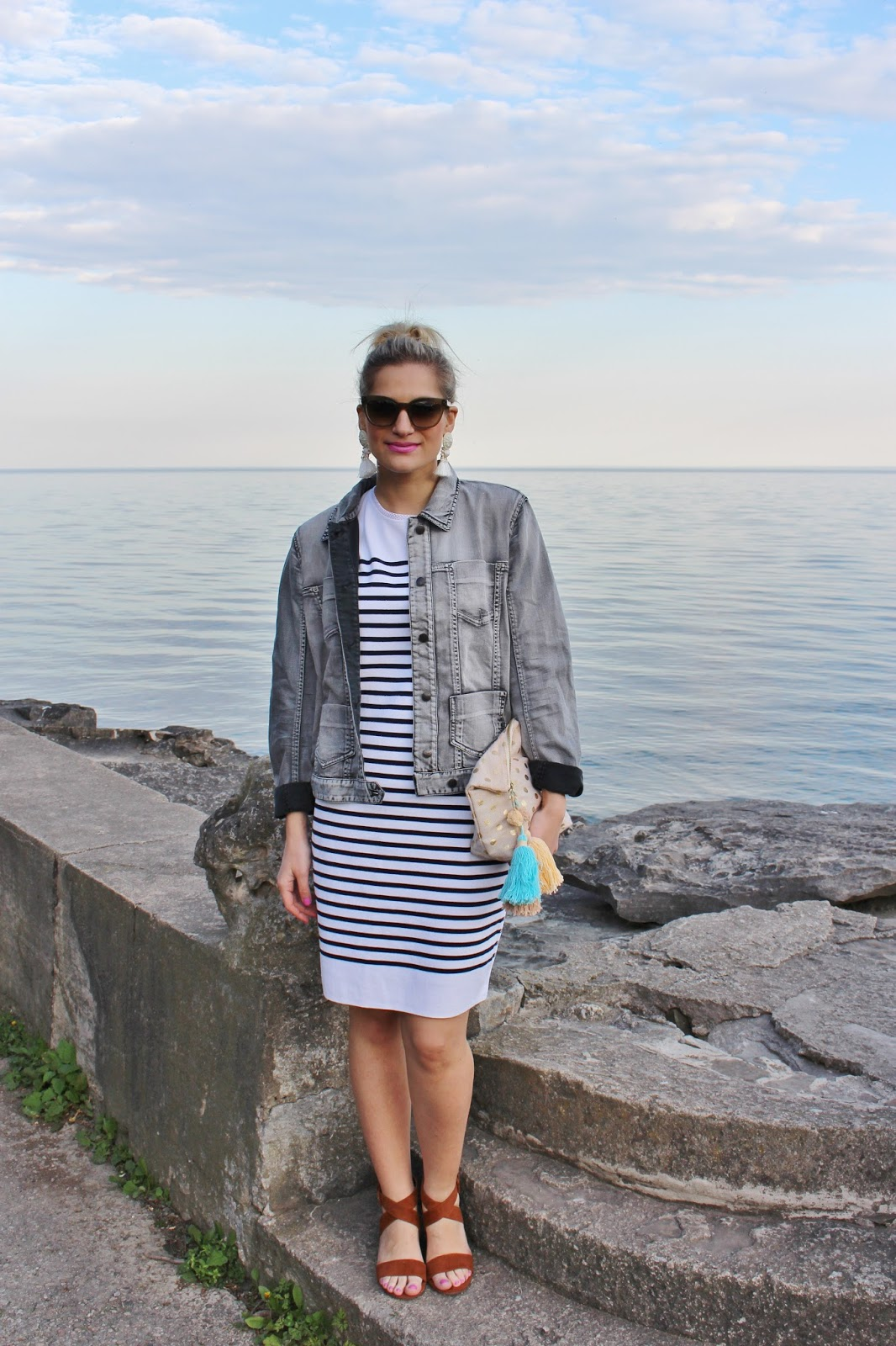 Bijuleni- Marc Cain Striped dress and faded jean jacket