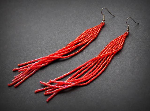 Купить висячие красные серьги из бисера украшения ручной работы магазин онлайн