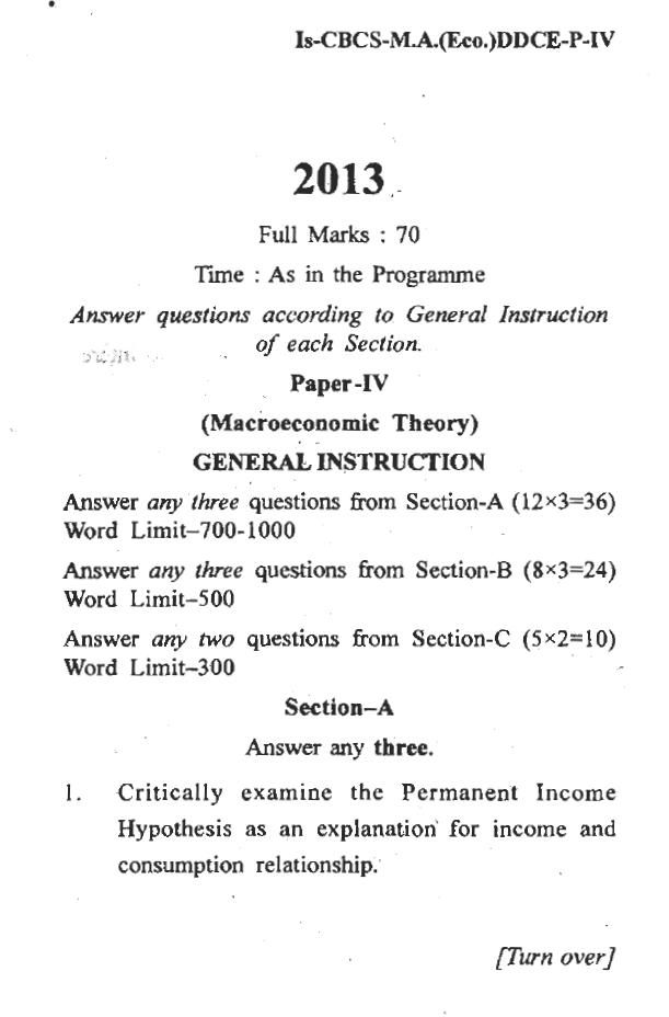 DDCE Utkal University MA Eco, Macroeconomic Theory paper-IV