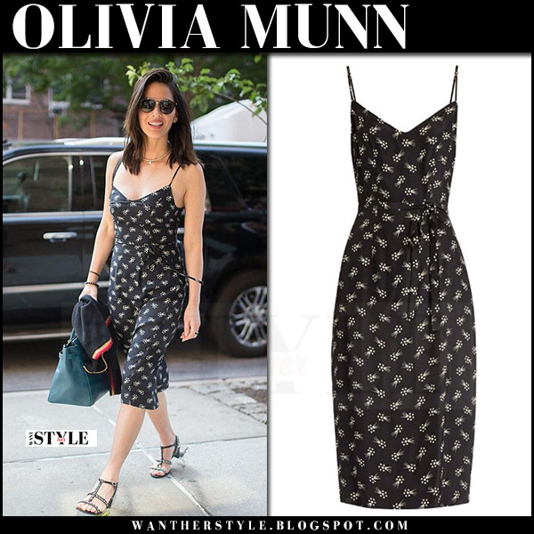 Olivia Munn in black printed slip dress hvn what she wore june 15 2017