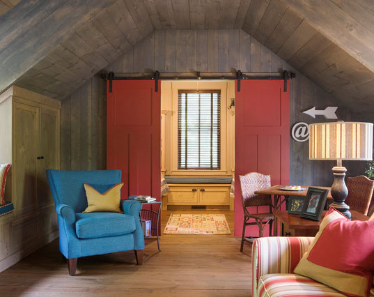 image result for colorful primary colors in modern country room with red barn doors