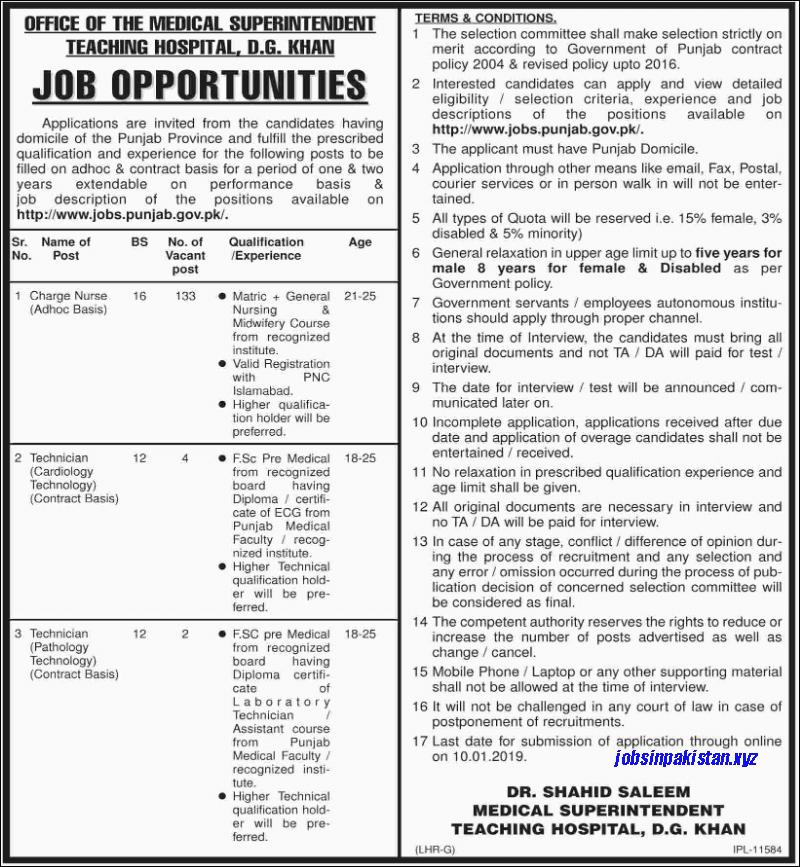 Advertisement for Medical Superintendent Teaching Hospital Jobs December 2018