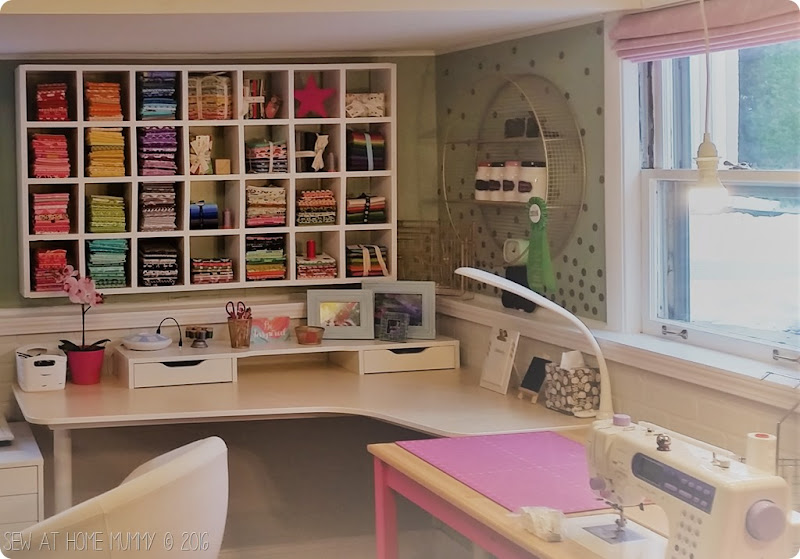 pretty sewing studio space - fat quarter fabric storage craft storage tutorial how-to