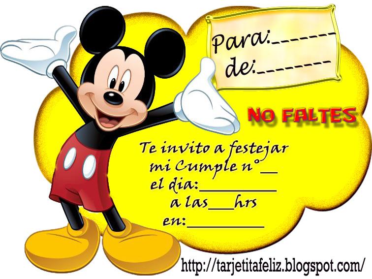 Tarjetas De Cumpleaños Para Imprimir Invitación Mickey Mouse