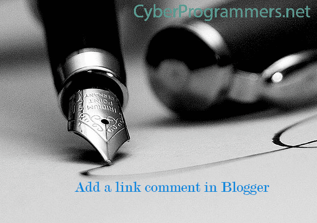 add a hyperlink comment in Blogger