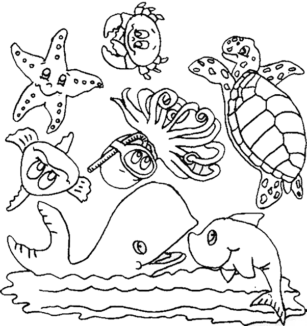Gambar Mewarnai Binatang Laut