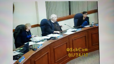 Vice Chair Anne Bergen, Chair Kevin O'Malley and Denise Schultz at the School Committee meeting Tuesday