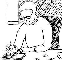 Drawing of Writer and Artist David Borden, (c) 2015