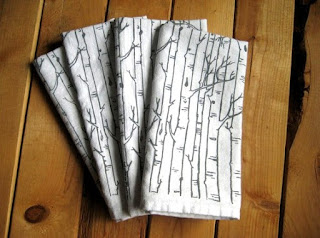oh little rabbit birch tree cloth napkins