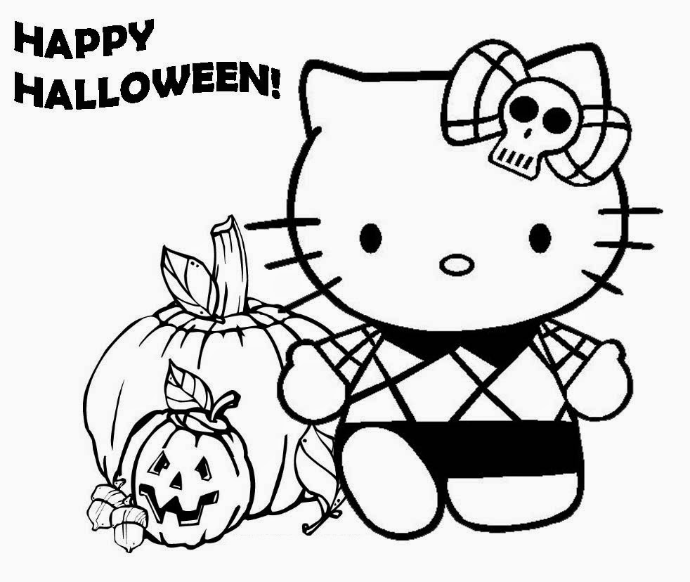 Hello kitty halloween coloring pages printables