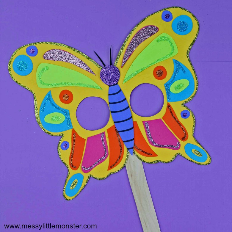 Butterfly mask craft for toddlers and preschoolers. Free printable butterfly template.