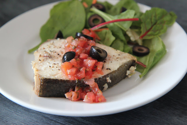Have you tried Alaska seafood lately? See the delicious dish we made using wild-caught halibut. This simple baked fish is topped with fresh salsa and olives!