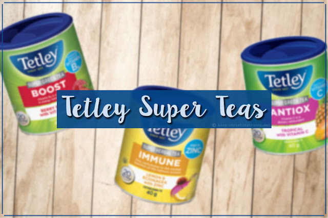 Tetley Super Teas Review. Tetley Super Green Tea Boost - Berry Burst with Vitamin B6. Tetley Super Herbal Tea Immune - Lemon and Echinacea with Zinc. Tetley Super Green Tea Antiox - Tropical with Vitamin C.