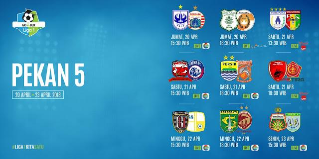 Jadwal Liga 1 2018 Pekan Kelima