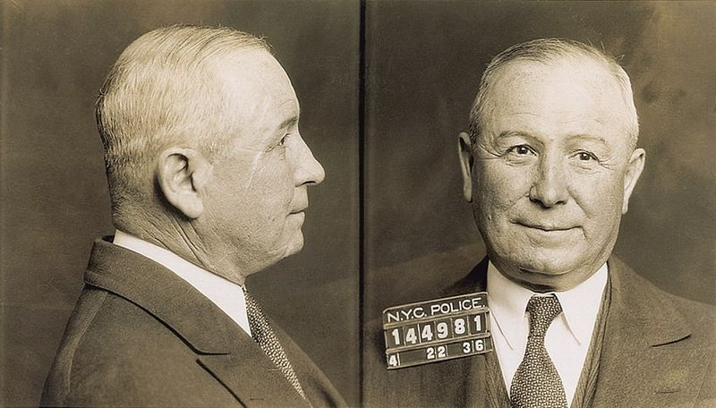 Mug shot of Italian-American mobster Johnny Torrio, in the immediate aftermath of his 1936 arrest for tax evasion.