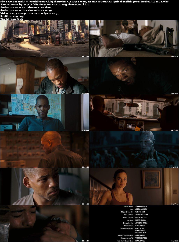 Screen Shoot of I Am Legend 2007 BRRip 720p Dual Audio Theatrical Cut In Hindi English ESub Watch Online Hd