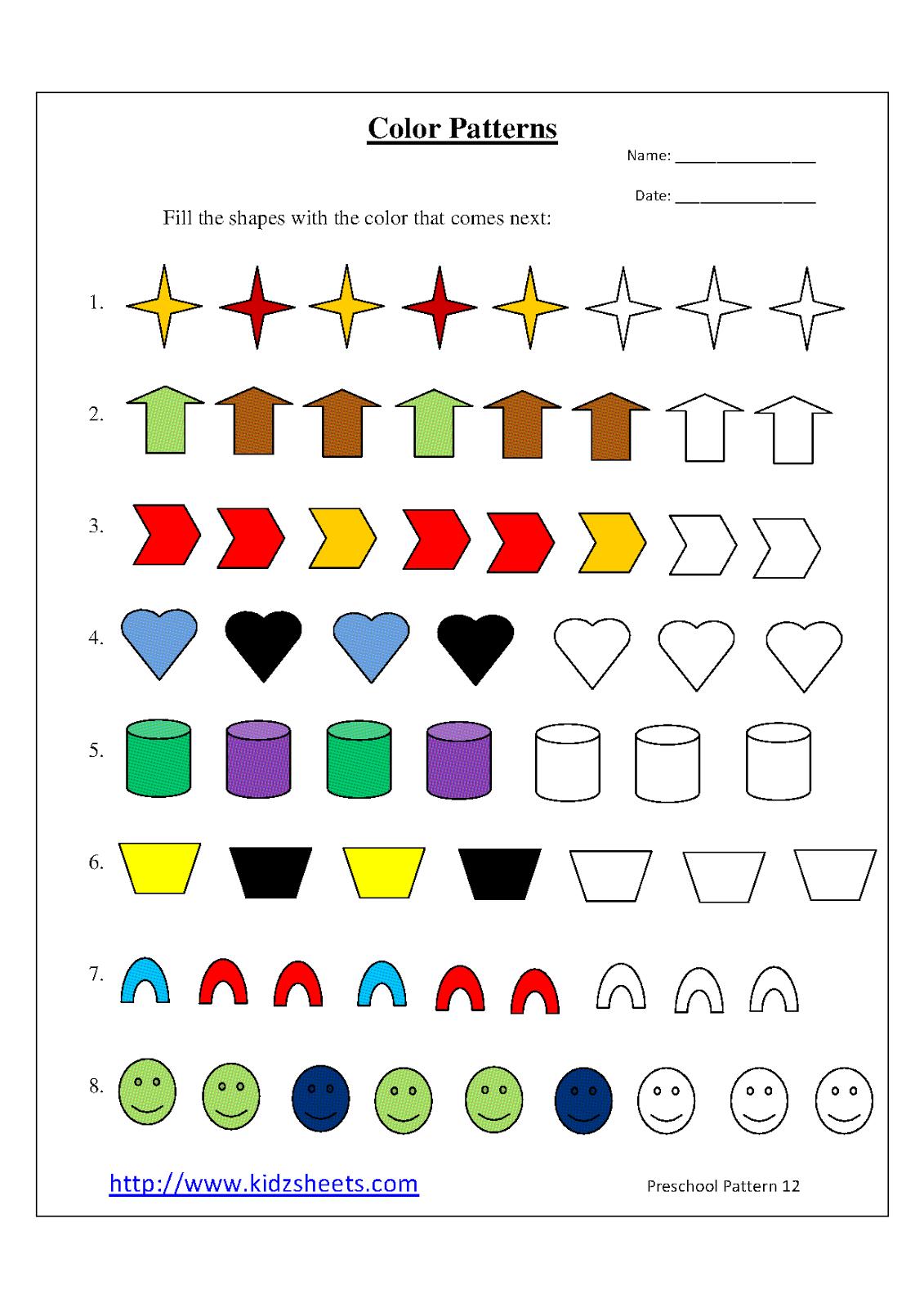 Printables Printable Pattern Worksheets kidz worksheets preschool color patterns worksheet12 patterns