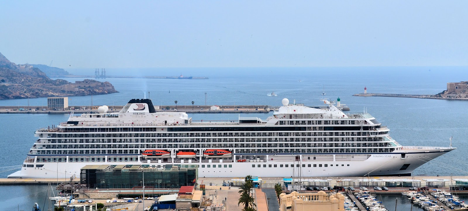 The first of the Viking Oceans liners, the Viking Star debuted in 2015 and is seen here docked in Gibraltar. Photo: © EuroTravelogue™. Unauthorized use is prohibited.