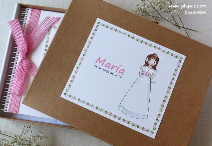 caja libro de comunion nacimineto personalizada