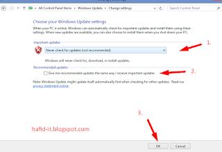 Never check windows update