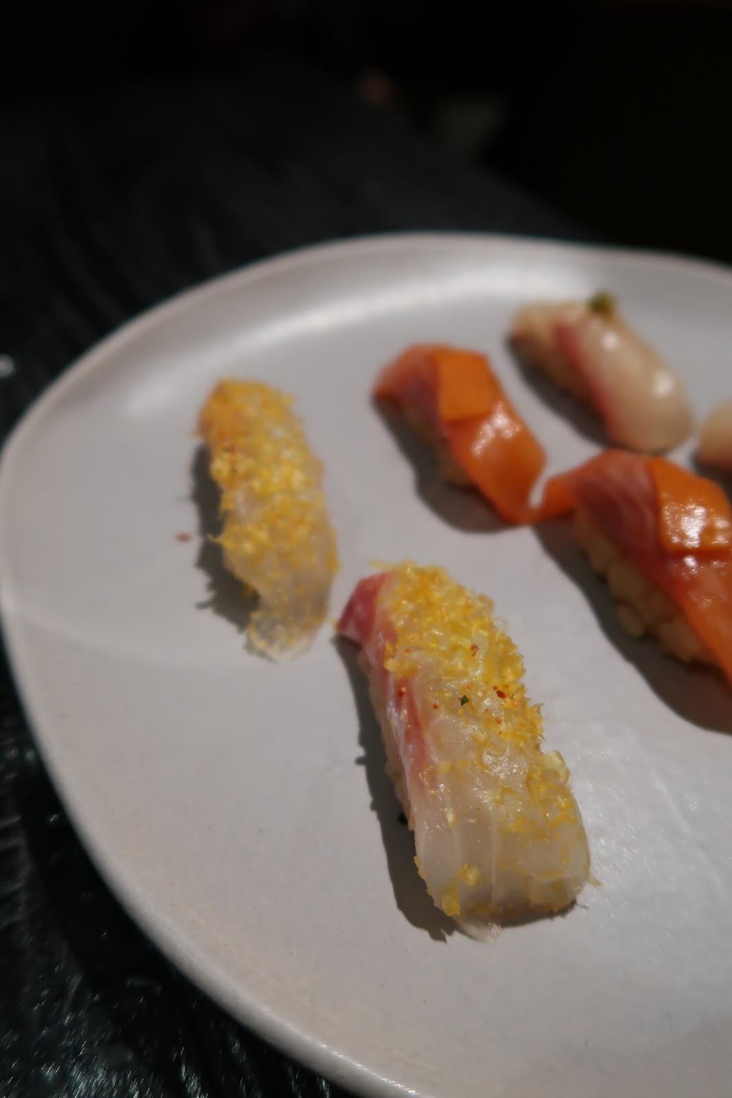 The first set of nigiri from our omakase tasting at Robin.