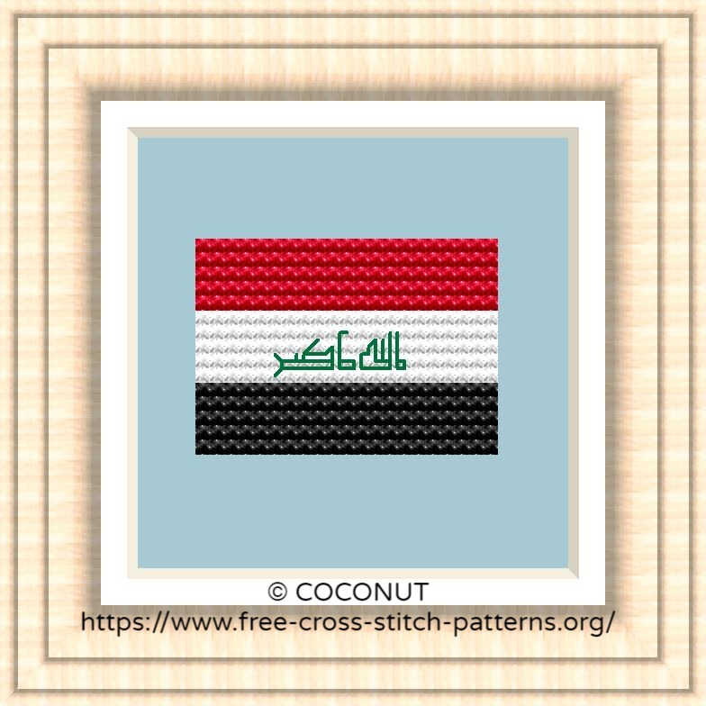 NATIONAL FLAG OF IRAQ CROSS STITCH CHART