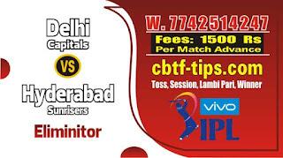 Cricket Win Tips Eliminator Match IPL Match Prediction Tips by Experts DC vs SRH