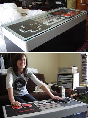 diseño creativo de mesa de centro control de Nintendo