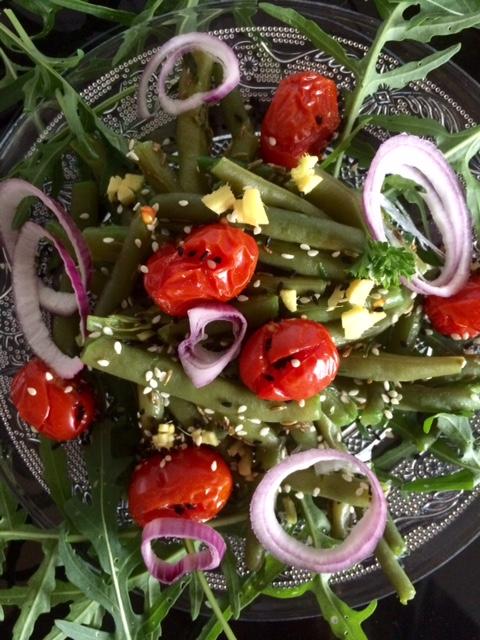 Bohnensalat mit gegrillten Tomaten Rezept glutenfrei und vegan