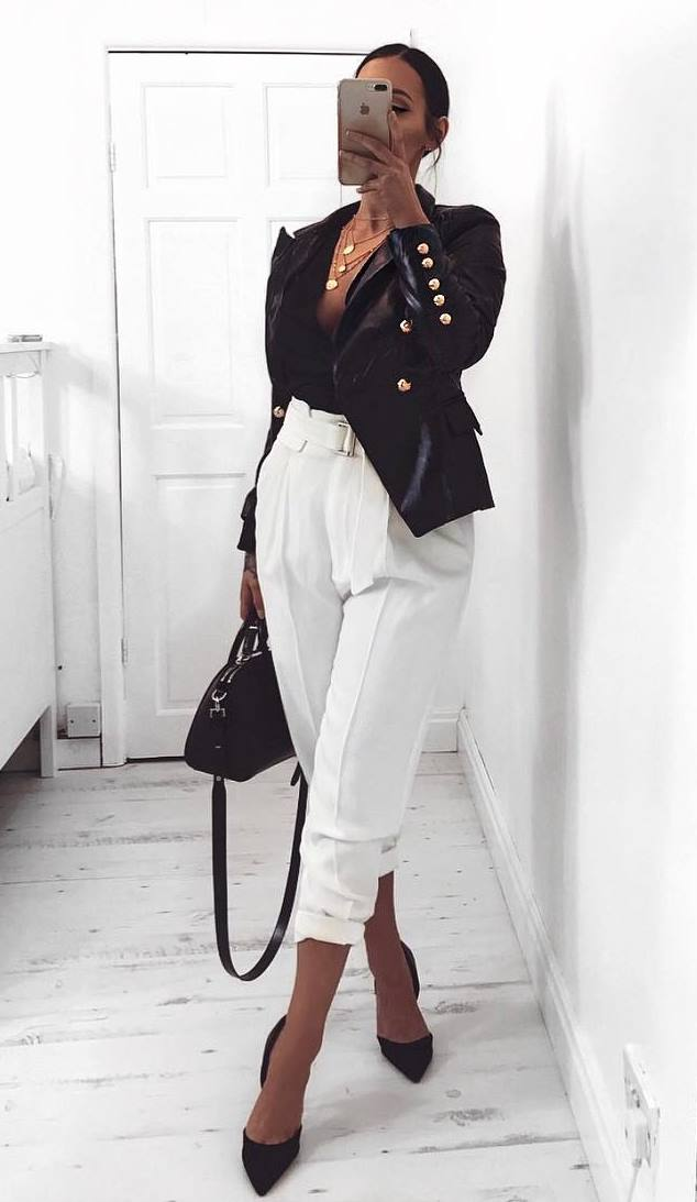 awesome fall outfit / blazer + bag + heels + top + white pants