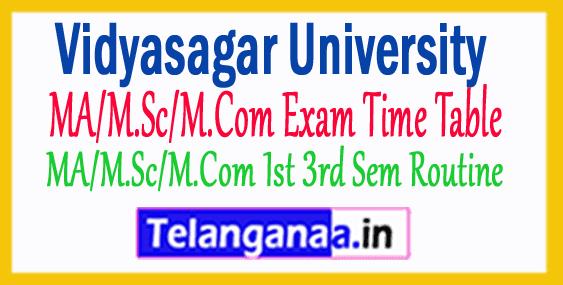 Vidyasagar University MA/M.Sc/M.Com Exam Time Table