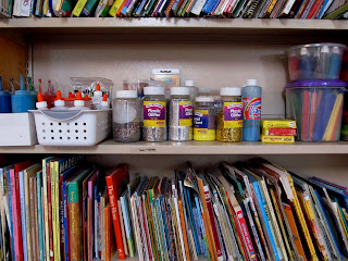 photo of: Art supplies organized at school, library organization of books