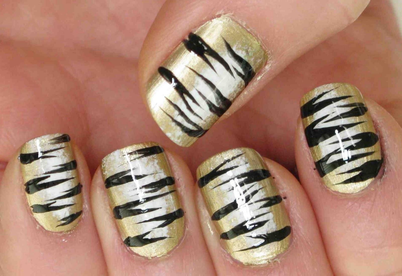 Miss80Million: Showing My Tiger Stripes - Nail Art Tutorial