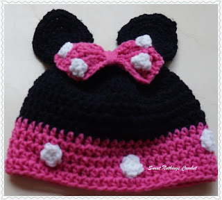 free crochet pattern for Minnie mouse cap