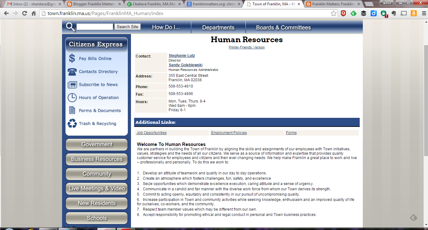 screen grab of  Franklin's Human Resources webpage