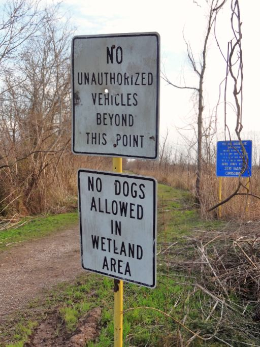 No Dogs Allowed Sign Wetlands Area Hogs To Be Banned Too Captured Rather Barker Reservoir George Bush Park Wilderness So Far The Only Mentions