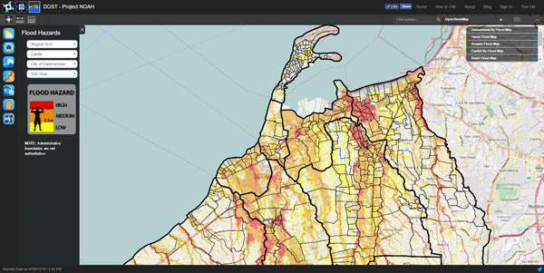Flood hazard map of Cavite by Project NOAH - Schadow1 Expeditions