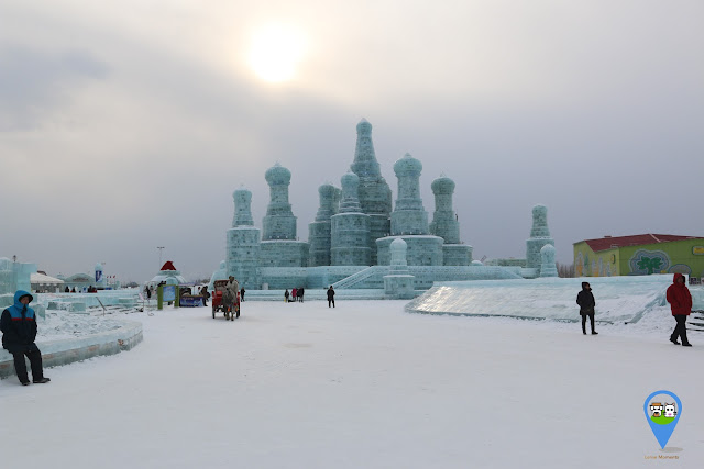 Palace Ice Sculpture at Harbin Ice Sculpture Exhibition in Heilongjiang, China
