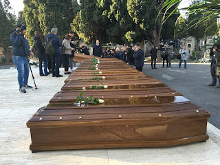 Photos: Funeral for 26 teenage Nigerian girls who drowned in the Mediterranean Sea ongoing in Salerno, Southern Italy