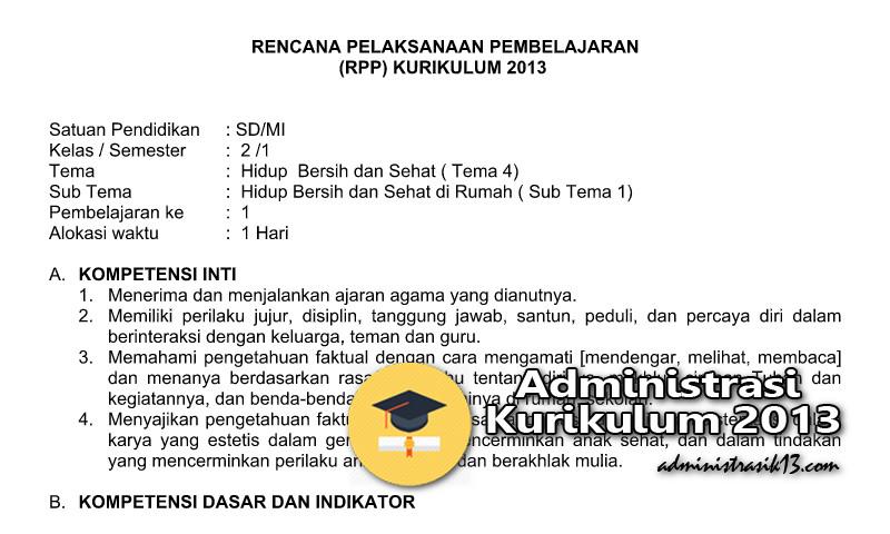 Rpp Kelas 2 K13 Revisi 2017 Semester 1 Tema 4 Hidup Bersih Dan Sehat Administrasi Kurikulum 2013