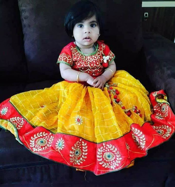 Baby in Stripes Kundan Work Lehenga