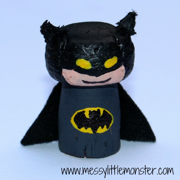 Batman craft for kids.  How to make a Batman figure from a cork. Great for superhero small world play.