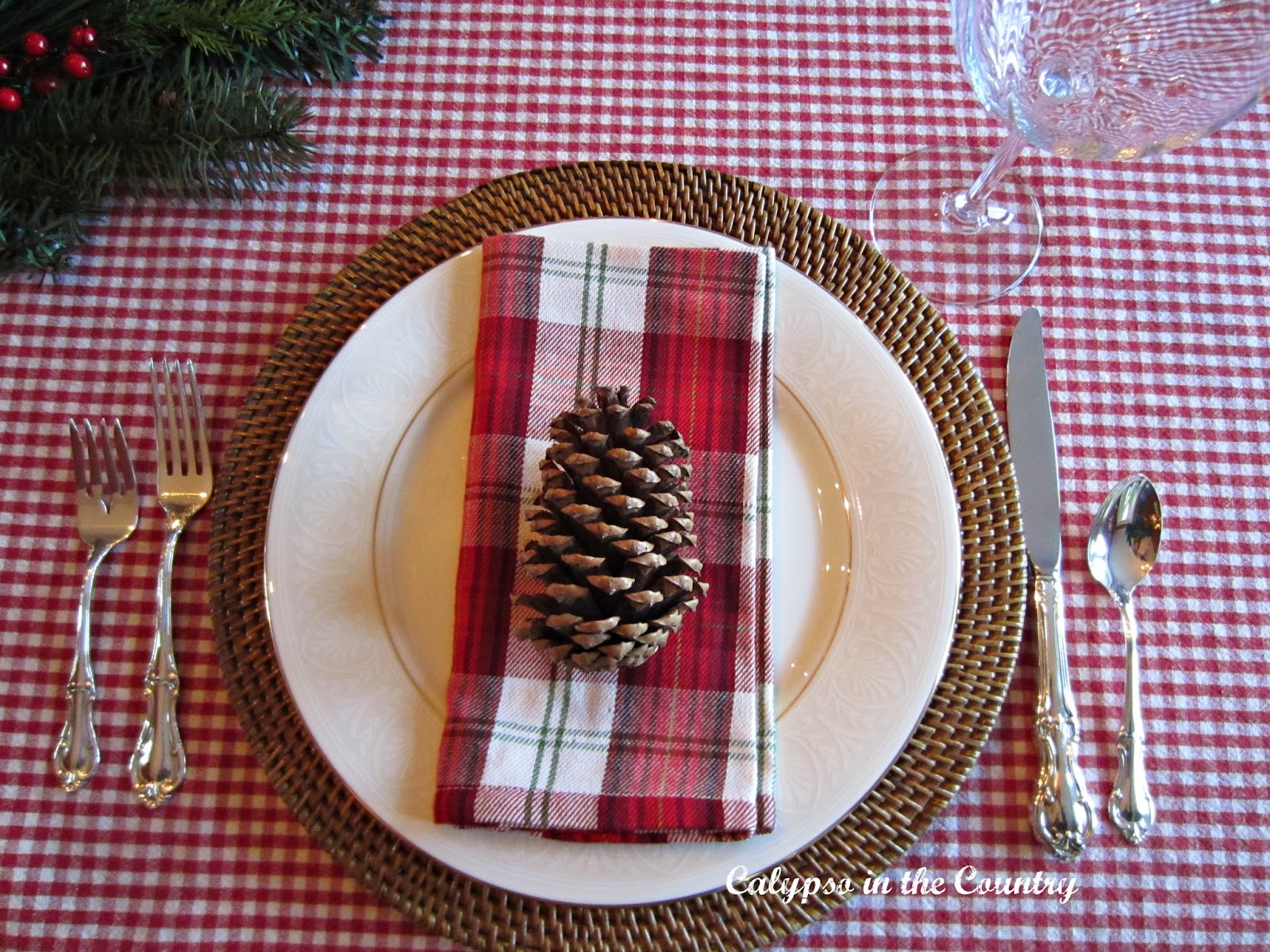 Preppy Plaid Christmas Table Setting