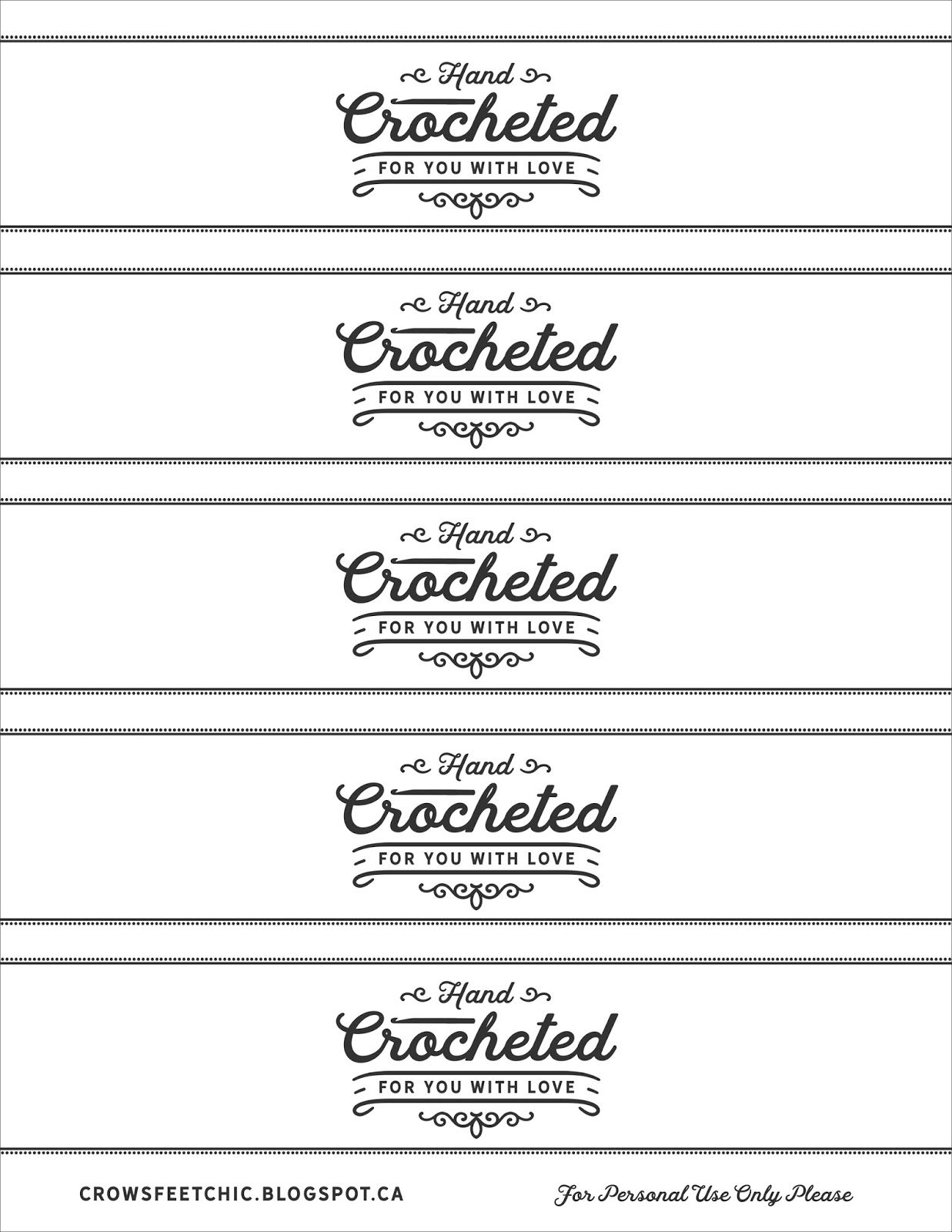 crochet gift labels free printable crow 39 s feet chic. Black Bedroom Furniture Sets. Home Design Ideas