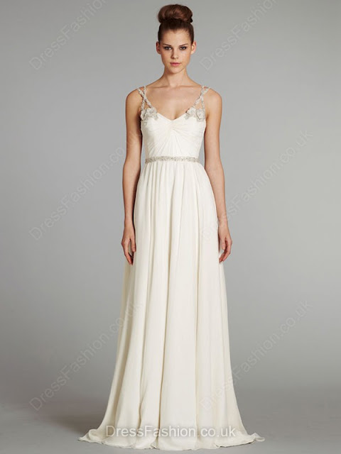 Sweep Train V-neck White Chiffon Beading Open Back Wedding Dress